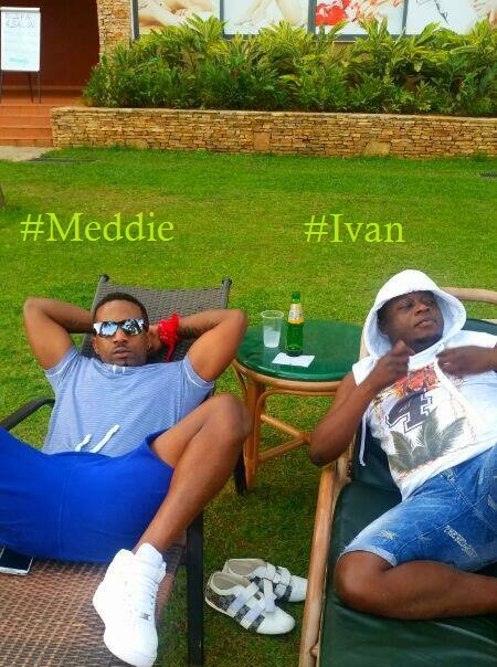 Meddie and Ivan relaxing at Speke Resort Munyonyo