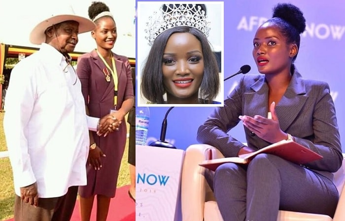 President Museveni and Quiin Abenakyo after receiving her model