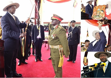Presidemt Museveni receiving the instruments  of power