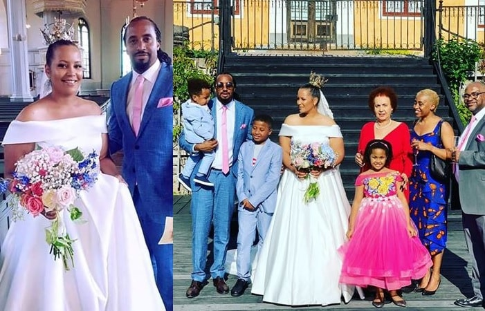 Navio and Mathilda after exchanging vows in Sweden