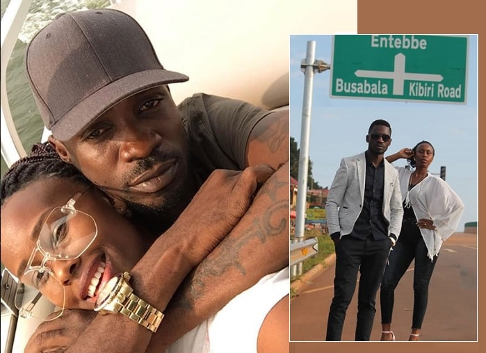 Bobi Wine and his wife Barbie Kyagulanyi and inset is the couple standing right by the Busabala sign post on the Entebbe Express Highway that can be accessed from the Munyonyo round about