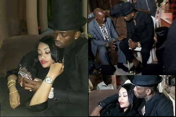 Diamond Platnumz comforting his wife duting the vigil