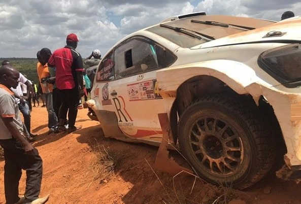 Rajiv's rally car after the Mbarara accident
