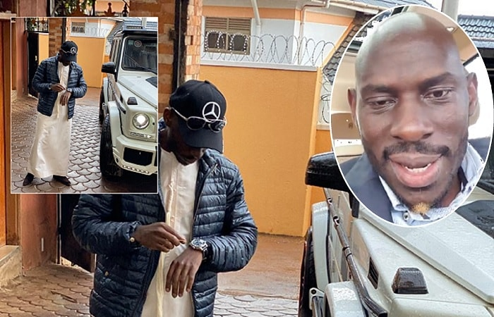 SK Mbuga next to his Brabus and inset, he addresses his fans while in his Rolls Royce