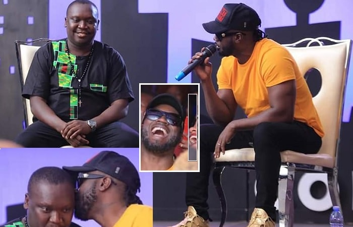 Bebe Cool and Salvador after making up during the Just Comedy show at Kingdom Kampala