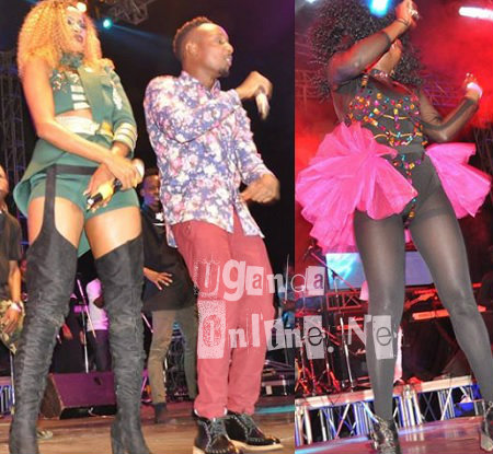 Sheebah performing with Chosen Blood