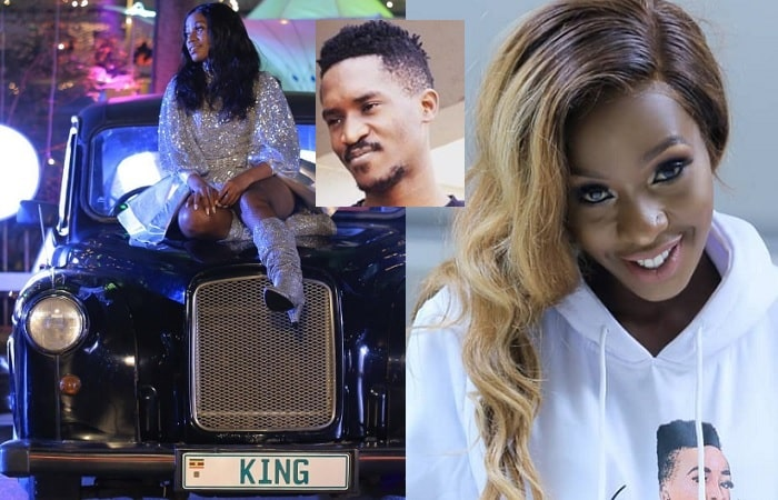 Sheebah right on a black vintage car with KING plates as Cindy laughs on