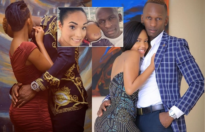 Sheila Gashumba and her lover and inset is Marcus with his wife and child