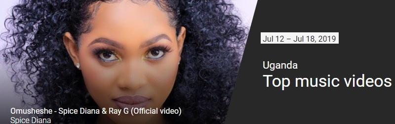 Omusheshe by Spice Diana and Ray G was the top video for that week in July