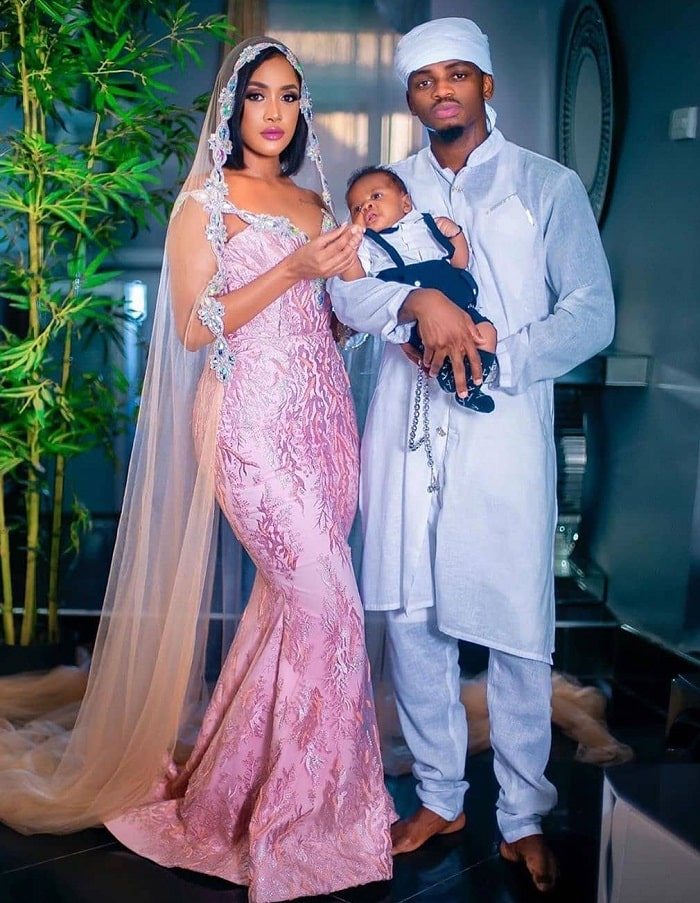 Baby Nasseb and his parents Tanasha Donna and Diamond Platnumz during the 40th day celebration