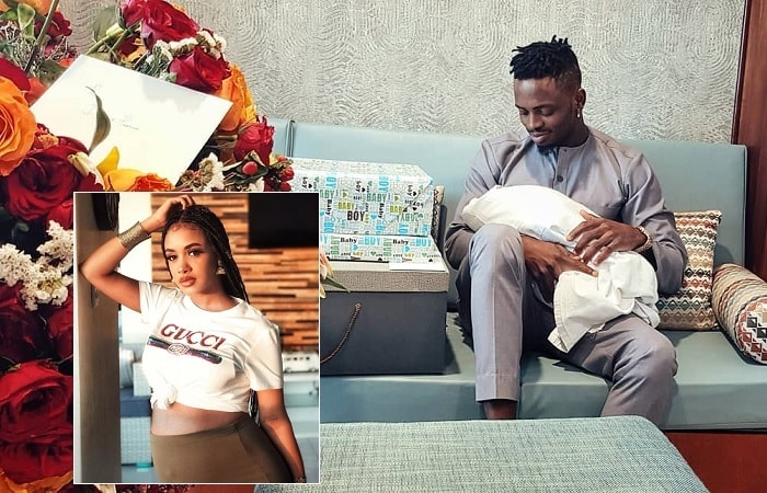 Diamomd Platnumz carrying his new born child and inset is new mom Tanasha Donna