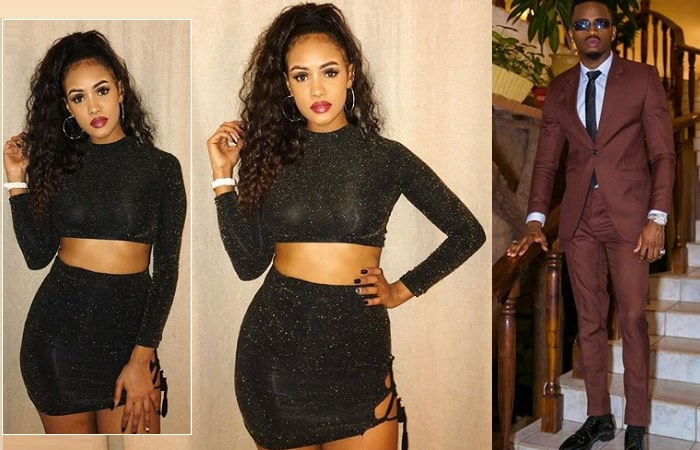 Tanasha Donna in her two piece outfit as Diamond is clad in his suit