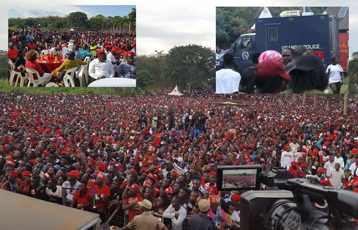 The crowd was huge and inset is a Uganda Police to ensure all is well