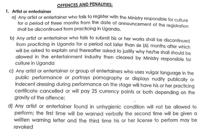 Laws and regulations that will govern artists and entertainers in Uganda
