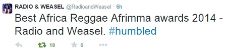 Radio and Weasel's tweet on winning the AFRIMA award.
