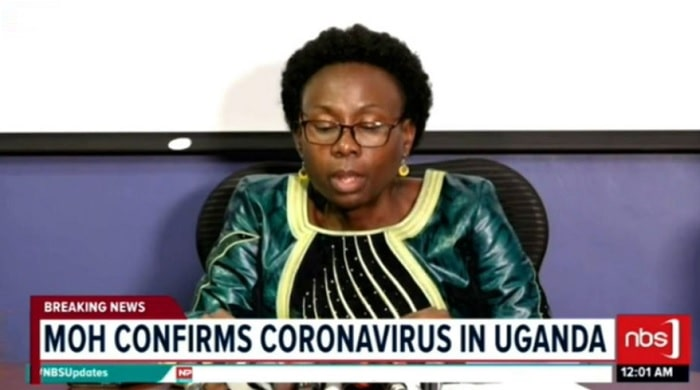 The Minister of Health Jane Ruth Aceng confirming the furst Coronavirus case in Uganda