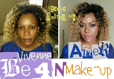 Vivenne Angela Birungi before and after make-up