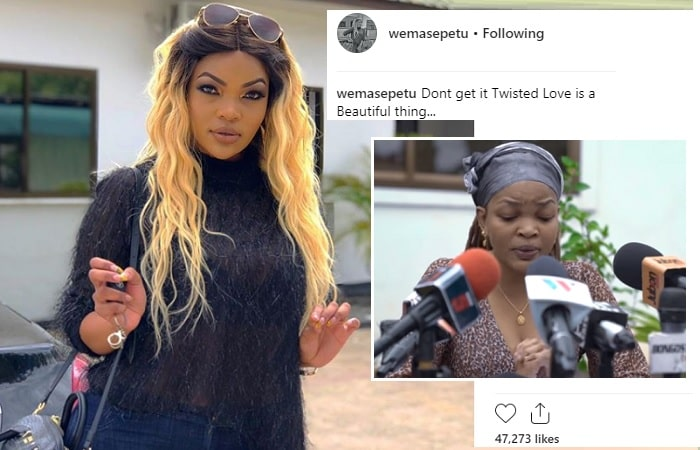 Wema Sepetu's last pic on Instagram and inset is the banned actress issuing her apology