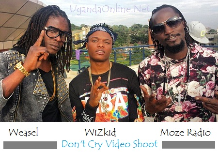 Wasel, WizKid and Moze Radio while shooting their Don't Cry Video