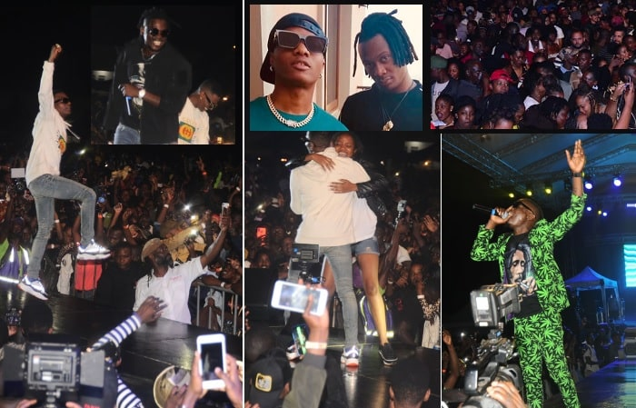 A female fan sneaked on stage for a moment with WizKid