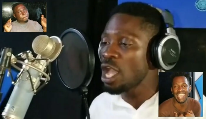 Bobi Wine during the recording of the Fiscal Policy song