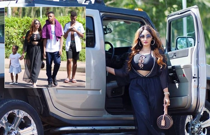 Inset is Zari and her two sons and daughter