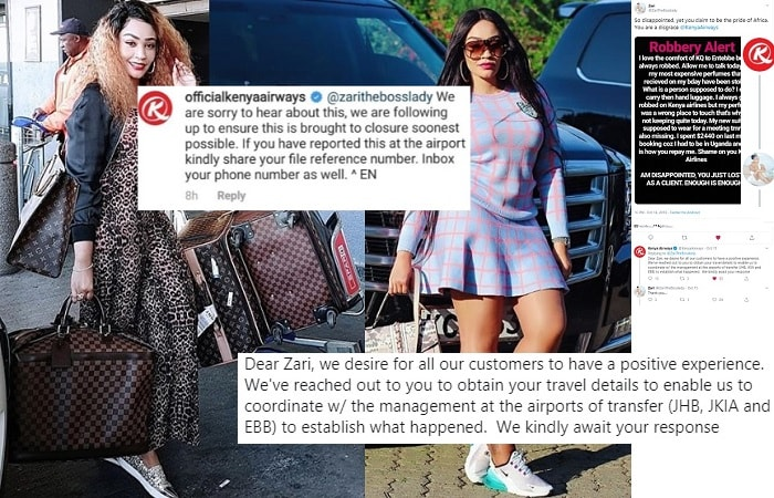 Kenya Airways responds to Zari's luggage theft claims