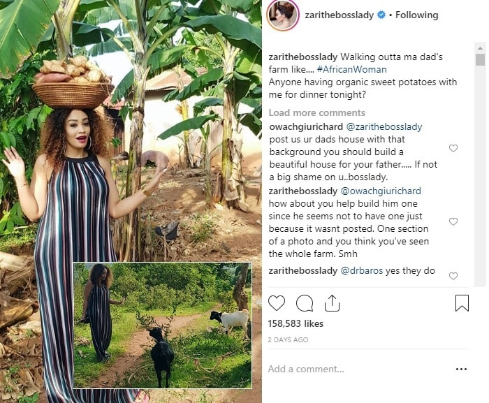 Zari responds to a fan who was asking her to build a house for her father