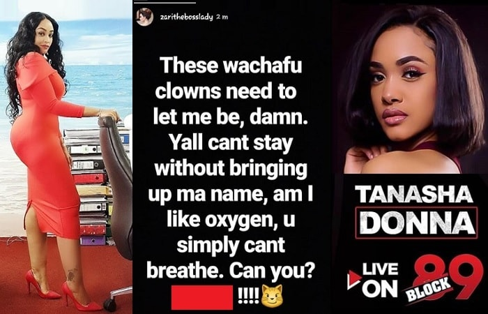 This was Zari's post following Tanasha's remarks on Wasafi FM