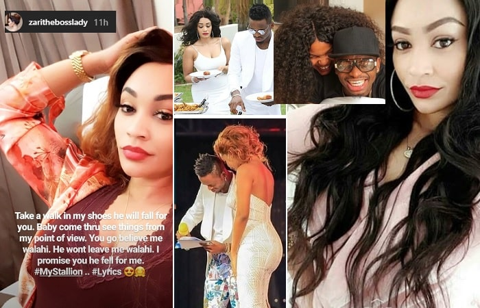 Zari comforts Hamisa Mobetto and inset is Diamond with his different mistresses