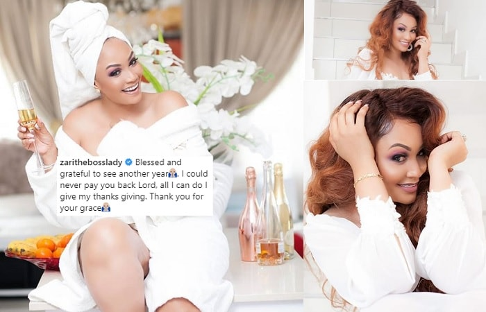 Zari drowning in champagne after her birthday bash