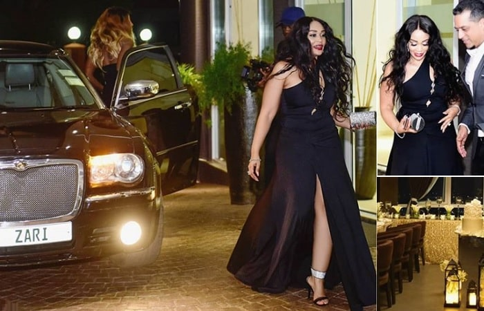 Zari shortly after arriving at Skyz Hotel in Naguru for her private birthday party