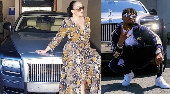 Zari on her husband's Rolls Royce while Diamond strikes a pose on a Rolls Royce while in the US