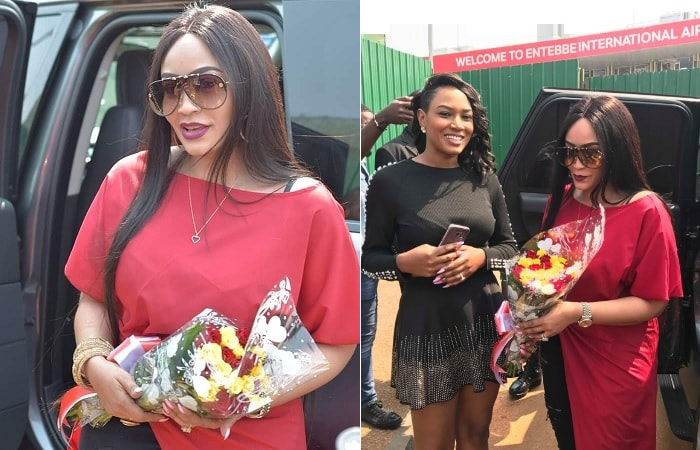 Zari and Sylvia Namutebi at the airport