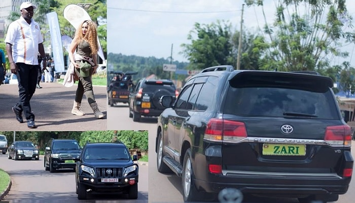 The convoy as Zari was on tour of Western Uganda