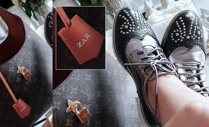Zari's customized LV bag and brogues shoes