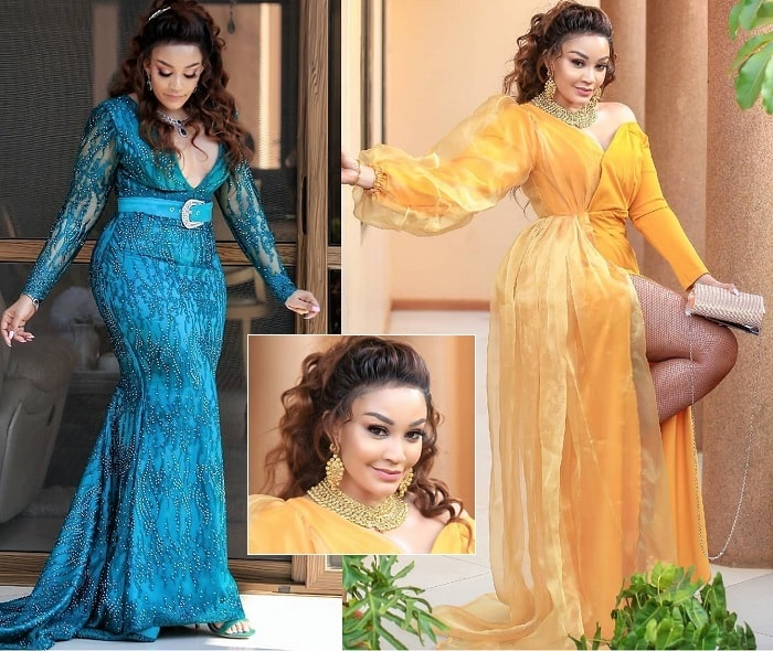 The blue outfit is what Zari used for the church wedding and the yellow one is what she put on for the reception