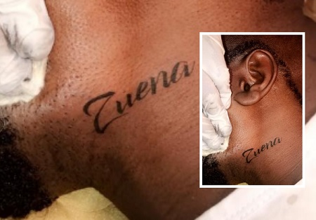 lower jaw Zuena tattoo on Bebe Cool