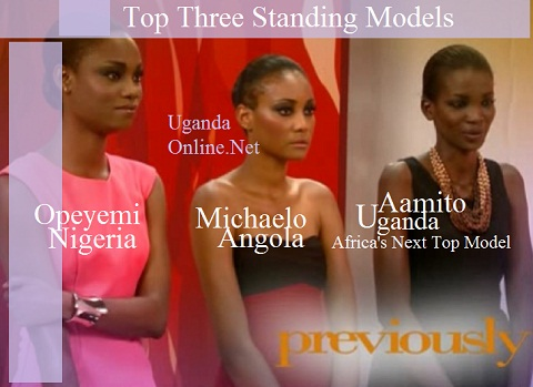 The last three standing: Nigeria's Opeyemi, Angola's Michaelo and the winner, Aamito