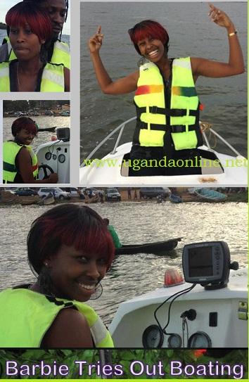 Barbie on a boat cruize with Bobi Wine