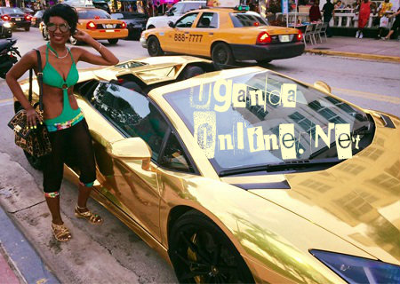 Barbara next to her gold-lambo