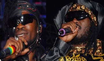 Bobi Wine and Bebe Cool at Kyadondo during the battle of the Champions