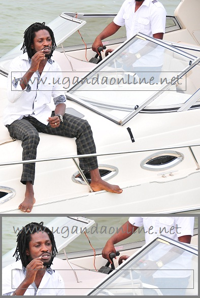 Bobi Wine having a ride on hi boat