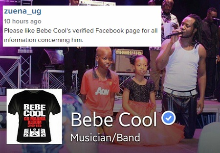 Bebe Cool's facebook page verified