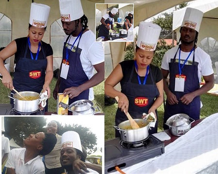 Bebe Cool and Zuena cooking for charity