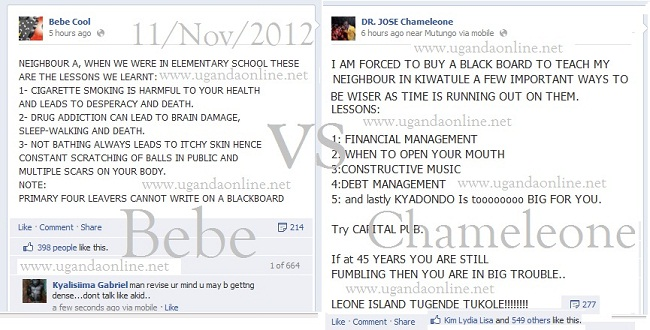 Bitter Facebook exchange between Bebe Cool and Jose Chameleone