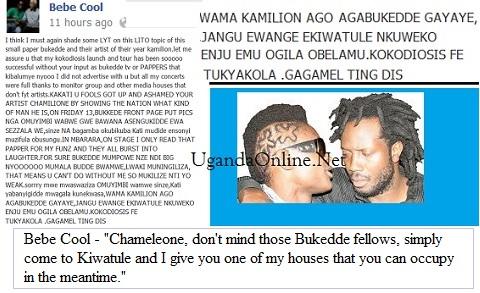 Bebe Cool's post to Bukedde and Chameleone