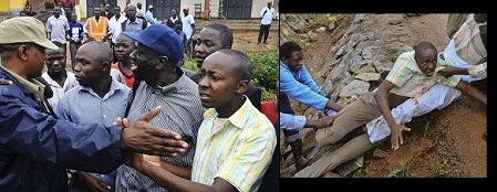 Besigye at Kasangati on Tuesday morning