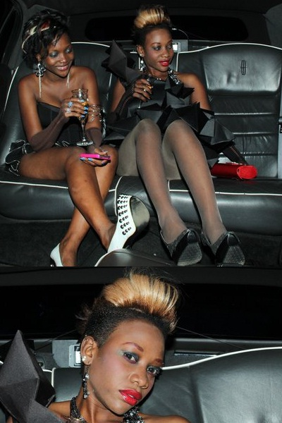 Bad Black in the black limousine that chauferred her around on her birthday