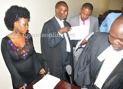 Bad Black, Julius Galiwango, Meddie Ssentogo and Caleb Alaka at court yesterday